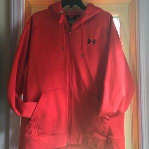 Under Armour red zip-up hooded sweatshirt